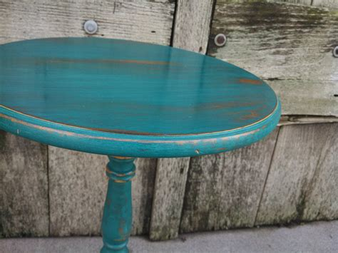 Teal End Table by Rustic Teal Side Table Accent Table Shabby Chic Decor