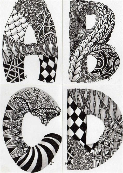Zentangle Pattern Letters | zentangle letters illuminated manuscripts pinterest