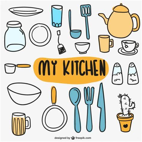 imagenes vectores cocina utensilios de cocina garabateados descargar vectores gratis