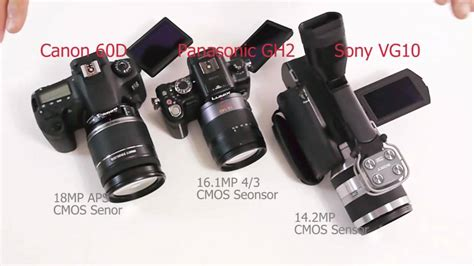 vg10 vs aus 8 panasonic gh2 vs or canon 60d vs or sony nex vg10 compared