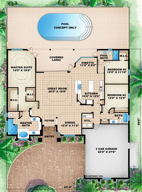 florida mediterranean house plan 60505