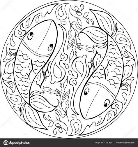 Imagenes De Mandalas Japoneses | vector de mandala de peces para colorear vector de stock