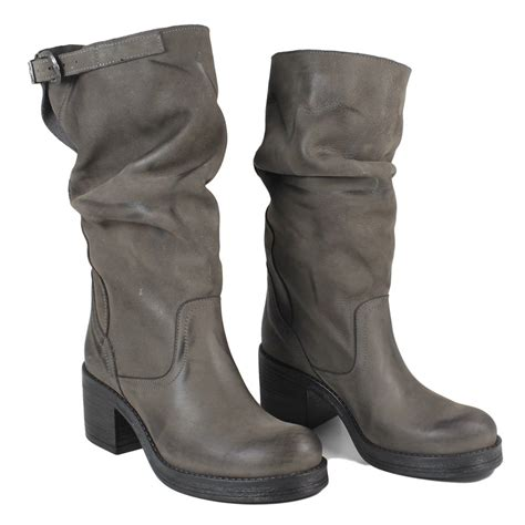 heeled biker boots mid biker boots with heel in genuine leather gray nubuck