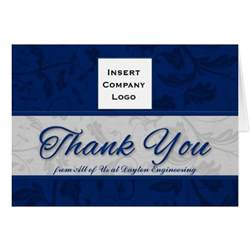 business logo custom thank you blue damask card zazzle