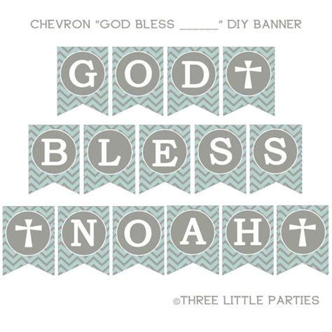 Printable Christening Banner | printable baptism banner chevron banner blue and gray or