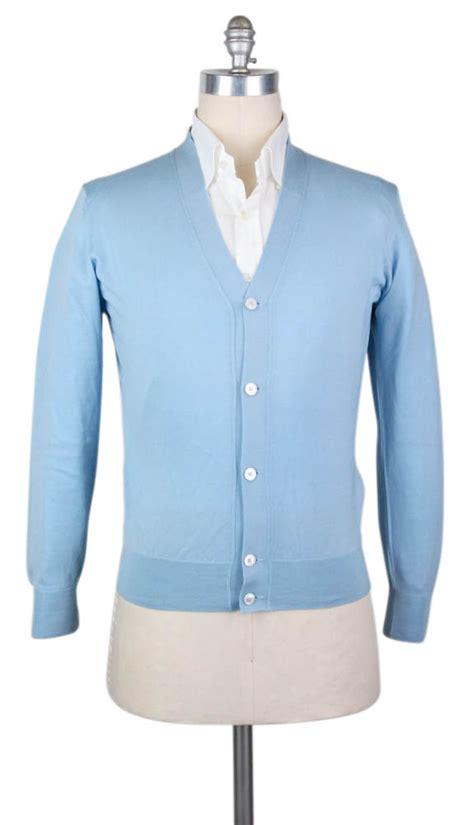 new 1500 kiton light blue wool sweater cardigan