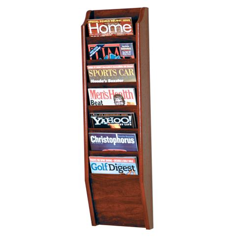 Magazine Wall Racks by Wooden Magazine Rack 7 Pocket In Wall Magazine Racks