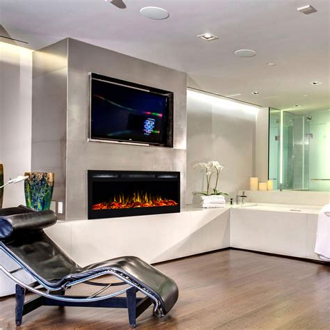 electric in wall fireplace regal 36 inch log built in recessed wall mounted electric fireplace