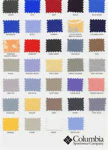 columbia colors anaheim embroidery columbia sportswear color chart