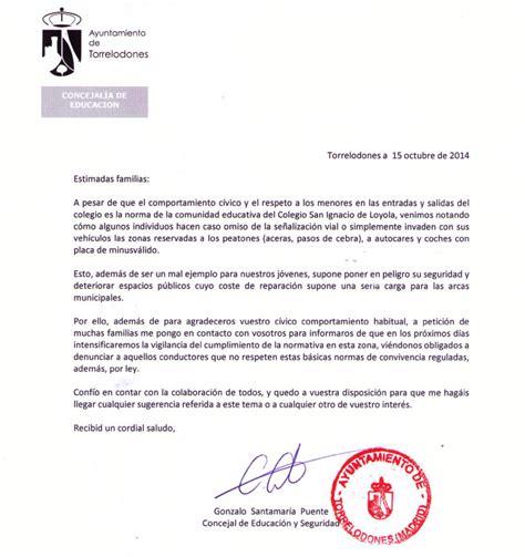carta para transferencia de multa ayuntamiento amenaza con multas de tr 225 fico a padres colegio s ignacio y causa malestar