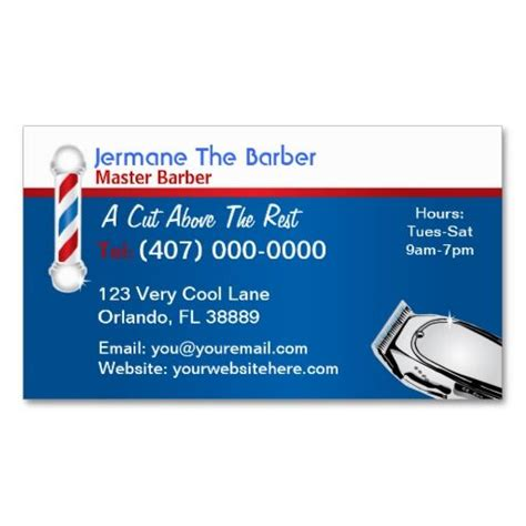 barber business card template barbershop business card barber pole and clippers