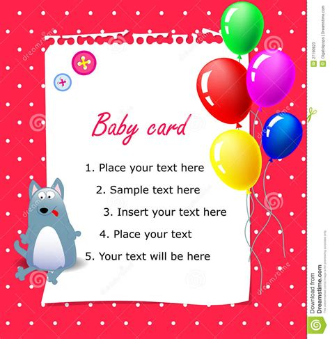 Baby Happy Birthday Card Baby Happy Birthday Card Pink Stock Vector Image 27190823