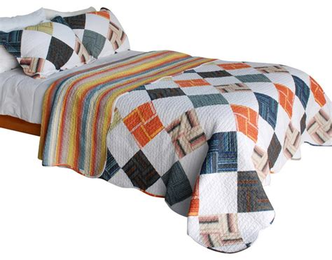 western plaid cotton 3pc vermicelli quilted patchwork