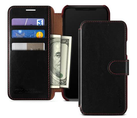 vrs design dandy leather style iphone xs max wallet black