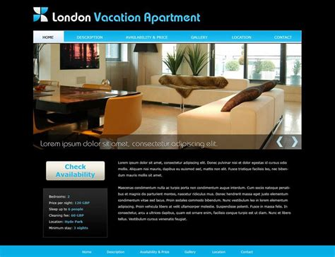free vacation home web template 2 website templates