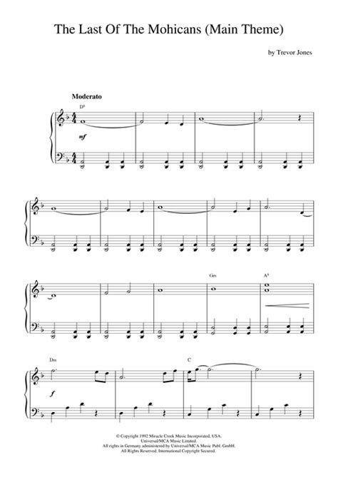 theme song last of the mohicans the last of the mohicans main theme sheet music by