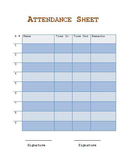 attendance form templates attendance calendar form 2016 calendar template 2016