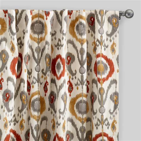 ikat draperies orange ikat cotton concealed tab top curtains set of 2