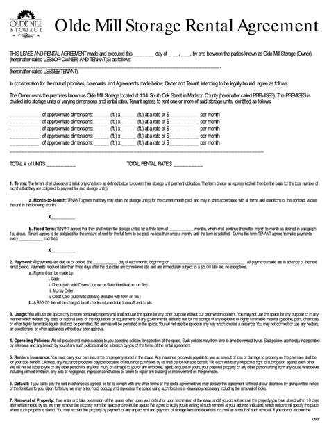 Self Storage Rental Agreement Template by Rent To Own Storage Building Contracts Olde Mill Storage