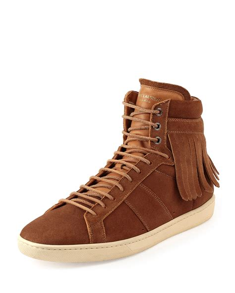 s laurent sneakers laurent fringed high top sneakers in brown for