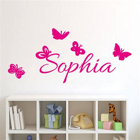 personal wall stickers butterflies personalized decal custom name wall sticker for bedroom ebay