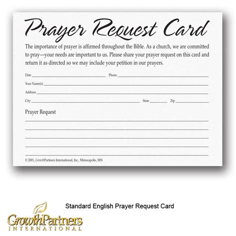 Prayer Request Cards 4x4 Template by Prayer Request Cards Growthpartners International