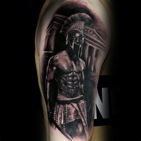 roman warrior tattoo warrior spartan black ink arm guys tattoos jpg
