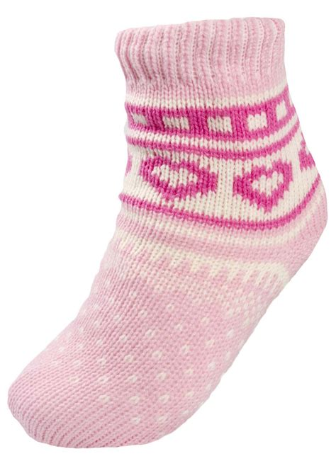 bed socks boys girls warm fleece lined fairisle slipper socks