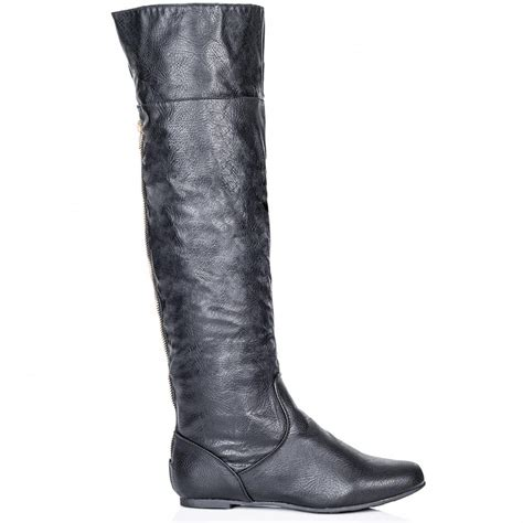buy flat zip knee boots black leather style