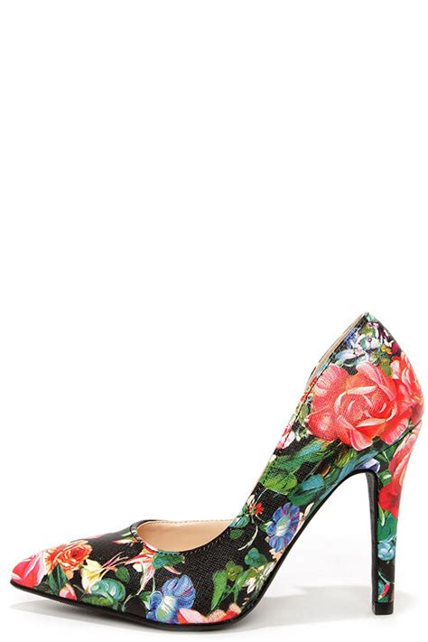 black and white patterned heels cute floral pumps d orsay pumps vegan leather pumps