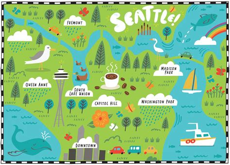 seattle map illustration i draw maps illustrated map of seattle for the wall