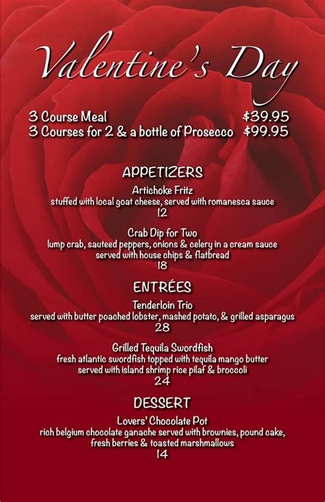 valentines day restaurant menu valentine s day dinner for 2barlows restaurant