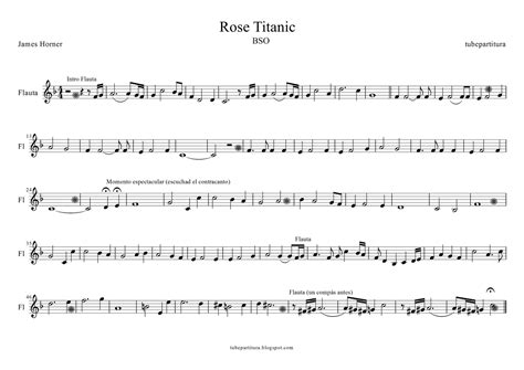 rose theme on piano tubescore titanic free sheet music for flute and recorder