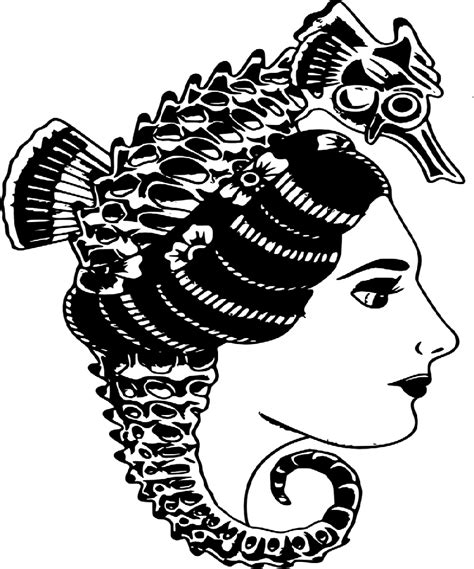 old school tattoo png traditional old school girl and seahorse in her hair
