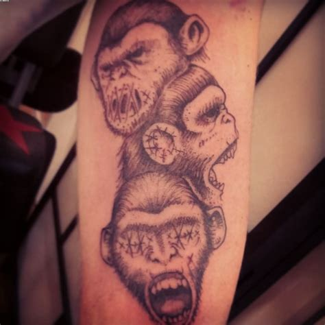ape tattoo three wise monkeys on arm wise monkeys