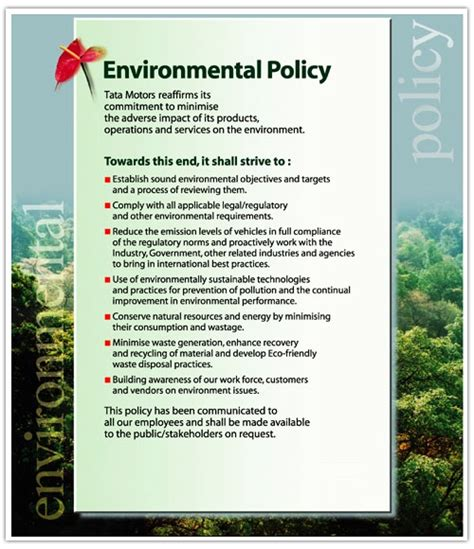 environmental policy template policies corporate social responsibility tata motors