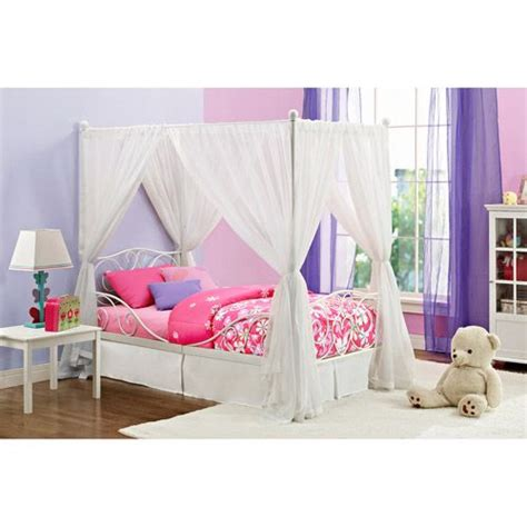 twin canopy bed canopy twin metal bed white