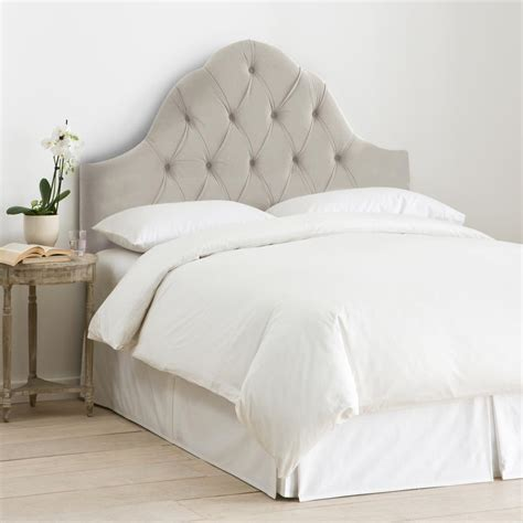 tufted arch headboard velvet light grey king high arched diamond tufted