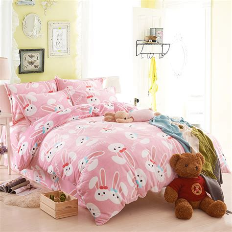 Beglance Cotton Rabbit Bed Sheet rabbit comforters and quilts pink bed sheets totoro bed