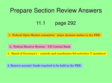 Section Review by Ppt The Federal Reserve System The Fed Powerpoint