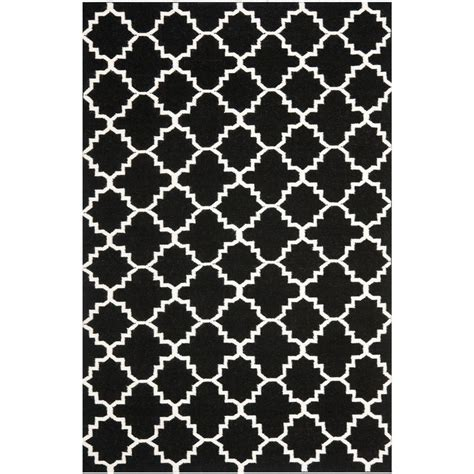 safavieh dhurries black ivory 8 ft x 10 ft area rug dhu554l 8 the home depot