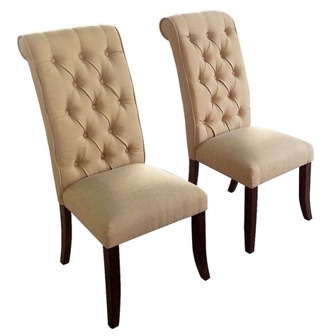 Cushioned Dining Chairs 2 Sets Beige Soft Fabric Cushioned Dining Chair Seat With Buttoned High Back Ebay