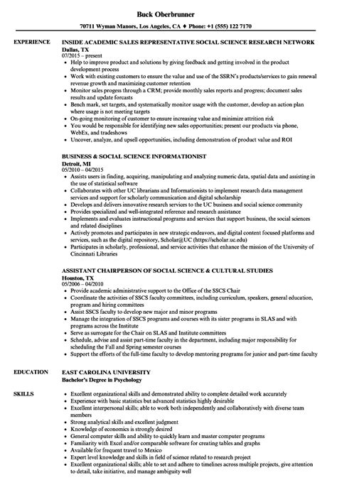 social science resume format social science resume sles velvet