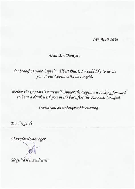 invitation to the captain s dinner