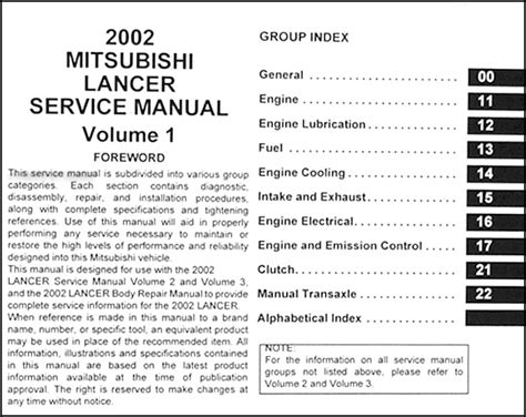 free car manuals to download 2002 mitsubishi lancer free book repair manuals 2002 mitsubishi lancer repair shop manual original 3 vol set