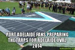Tarp Meme - port adelaide fans preparing the tarps for adelaide oval