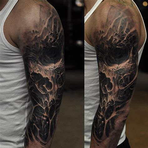 3d tattoo sleeve ideas dark skull sleeve http tattooideas247 com evil skull