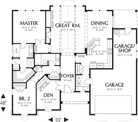 one room deep house plans craftsman style house plan 2 beds 2 baths 1728 sq ft plan 48 103