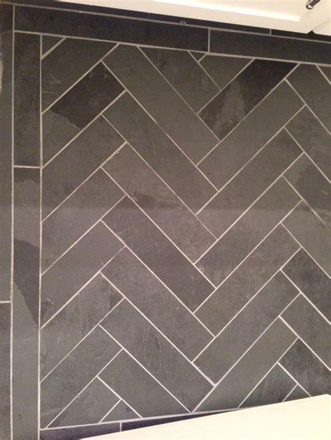 Slate herringbone floor   dream home   Pinterest