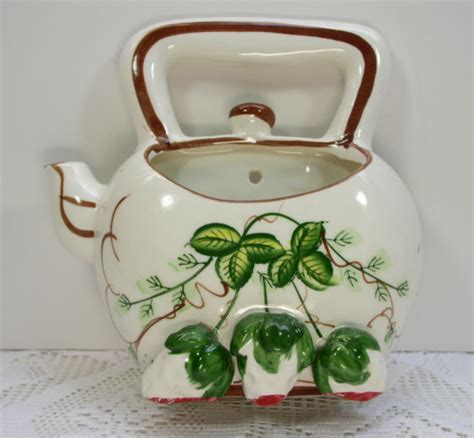 Teapot Planters by Vintage Strawberry Teapot Wall Pocket Flower Pot Planter